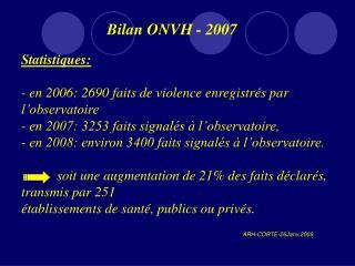 Bilan ONVH - 2007