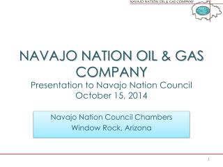 NAVAJO NATION OIL  & GAS COMPANY Presentation to Navajo Nation Council October 15, 2014