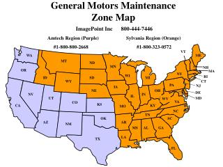 General Motors Maintenance Zone Map