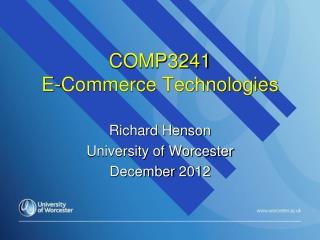 COMP3241 E-Commerce Technologies