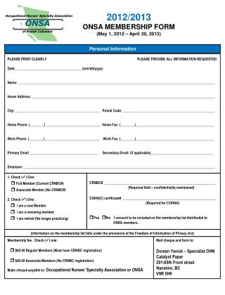 2012/2013 ONSA MEMBERSHIP FORM (May 1, 2012 – April 30, 2013)