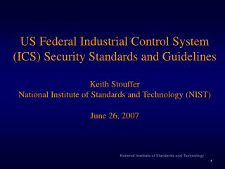 US Federal ICS Security Standards and Guidelines Overview