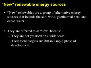 �New� renewable energy sources