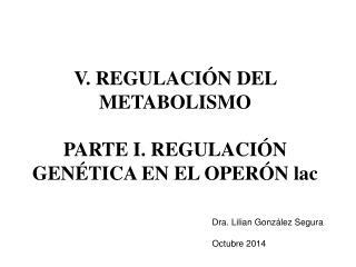 V. REGULACIÓN DEL METABOLISMO PARTE I. REGULACIÓN GENÉTICA EN EL OPERÓN lac