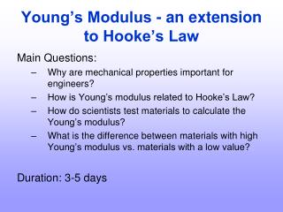 Young's Modulus - an extension to Hooke's Law