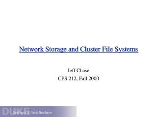 Network Storage and Cluster File Systems