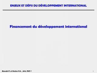 Financement du d�veloppement international