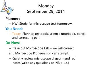 Monday September 29, 2014