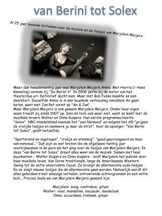Al 25 jaar lovende kritieken over de muziek en de liedjes van Marjolein Meijers