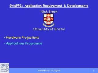 GridPP2: Application Requirement & Developments Nick Brook University of Bristol