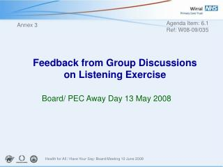 Feedback from Group Discussions on Listening Exercise