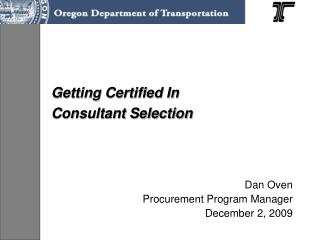 Getting Certified In  Consultant Selection