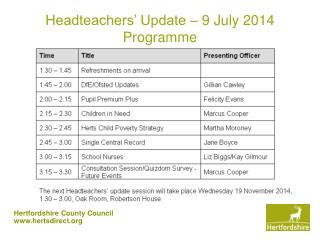 Headteachers' Update – 9 July 2014 Programme
