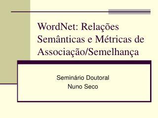 WordNet: Relações Semânticas e Métricas de Associação/Semelhança