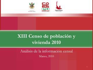 XIII Censo de población y vivienda 2010