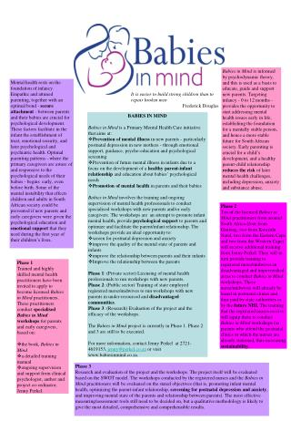 BABIES IN MIND Babies in Mind  is a Primary Mental Health Care initiative that aims at: