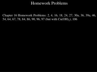 Homework Problems