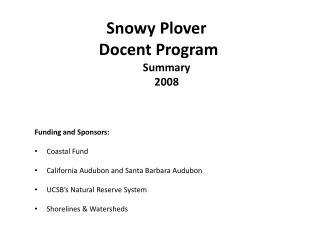 Snowy Plover  Docent Program