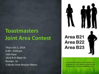 Thurs Oct 2, 2014 6:00 – 9:00 pm 14th floor  1616 N Ft Myer  Dr Rosslyn,  Va