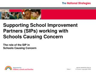 Supporting School Improvement Partners (SIPs) working with Schools Causing Concern
