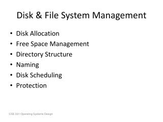 Disk & File System Management