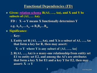 Functional Dependencies (FD)
