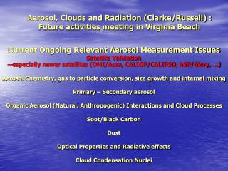 Current Ongoing Relevant Aerosol Measurement Issues Satellite Validation
