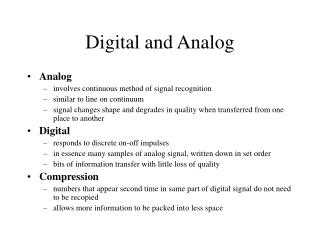 Digital and Analog