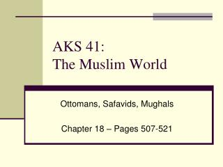 AKS 41: The Muslim World
