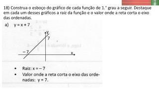 19) Calcule , mentalmente, e escreva o valor da raiz de cada função dada a seguir. y  = 3x-12