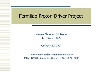 Fermilab Proton Driver Project
