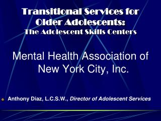 Transitional Services for Older Adolescents:   The Adolescent Skills Centers