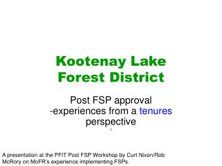 Kootenay Lake  Forest District