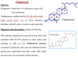 Cholesterol Sources: Exogenous: from diet, it is present in egg yolk, liver and brain.