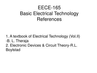 EECE-165 Basic Electrical Technology References