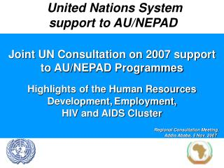 United Nations System  support to AU/NEPAD