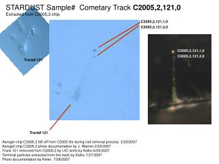 STARDUST Sample#  Cometary Track  C2005,2,121,0 Extracted from C2005,2 chip