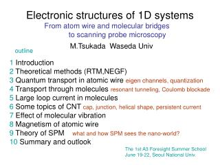 Electronic structures of 1D systems