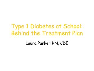 Type 1 Diabetes at School: Behind the Treatment Plan
