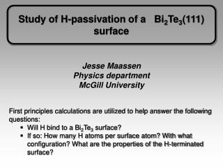 Study of H-passivation of a   Bi 2 Te 3 (111) surface