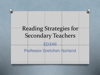 Reading Strategies for Secondary Teachers