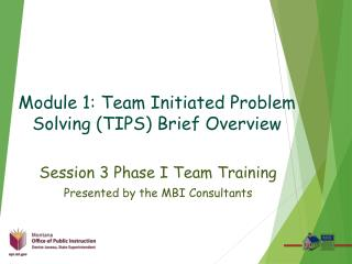 Module 1: Team Initiated Problem Solving (TIPS) Brief Overview