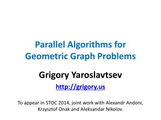 Parallel Algorithms for Geometric Graph Problems