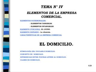 TEMA N° IV ELEMENTOS DE LA EMPRESA COMERCIAL.