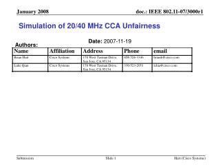 Simulation of 20/40 MHz CCA Unfairness