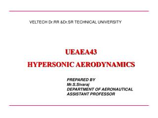 UEAEA43 HYPERSONIC AERODYNAMICS