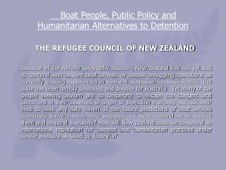 THE REFUGEE COUNCIL OF NEW ZEALAND