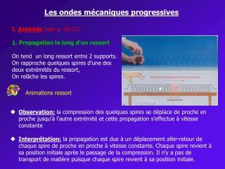Les ondes mécaniques progressives I.  Activités (voir p. 20-21)