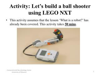 Activity: Let's build a ball shooter using LEGO NXT