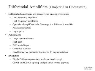 Differential Amplifiers  (Chapter 8 in Horenstein)